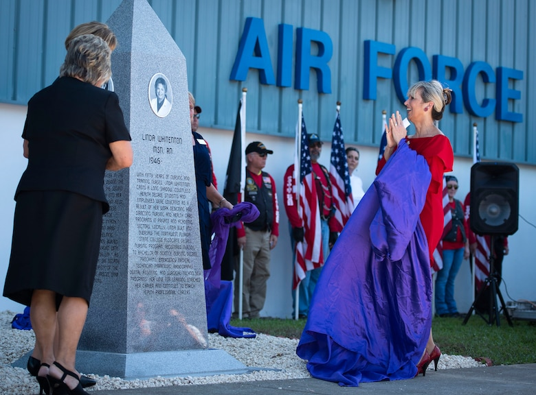 "A monument to honor nurses is unveiled at the U.S. Air Force Armament Museum here Sept. 7. The tribute is a ""thank you"" to military and civilian nurses and the first of its kind in Florida. The monument became a reality through the efforts of William Everett, PHC 811, the Military Order of the Purple Heart, the AFAM, the Northwest Florida State College nursing program, the Northwest Florida Daily News along with many local businesses and individuals."