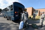 U.S. Airmen from the South Carolina Air National Guard and 169th Fighter Wing, prepare to deploy from McEntire Joint National Guard Base to Bluffton, South Carolina, to support partnered civilian agencies and safeguard the citizens of the state in advance of Hurricane Florence, September 10, 2018. Approximately 800 South Carolina National Guard Soldiers and Airmen have been mobilized to prepare, respond and participate in recovery efforts as forecasters project Hurricane Florence will increase in strength with potential to be a Category 4 storm and a projected path to make landfall near the Carolinas and East Coast.