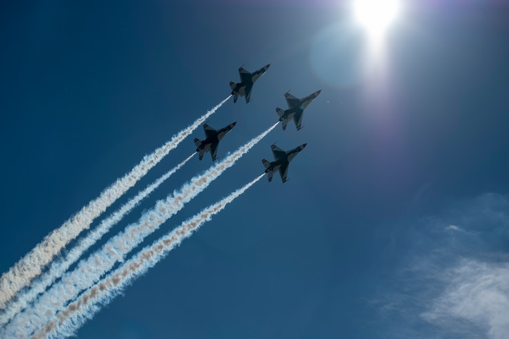 "Members of the U.S. Thunderbirds perform for Team McConnell at the Frontiers in Flight Open House and Airshow Sept. 9, 2018, McConnell Air Force Base, Kan. In 1953 the Air Force activated the 3600th Demonstration Unit, which adopted the name ""Thunderbirds,"" establishing a 55-year heritage of displaying the capabilities of the most powerful Air Force in the world. (U.S. Air Force Photo by Staff Sgt. Preston Webb)"