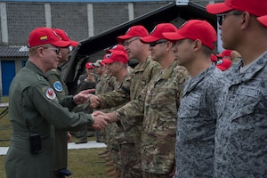 Colombian Air Force Major Gen. Rodrigo Alejandro Valencia Guevara, shakes hands with U.S. Air Force participants of the Colombian-led search and rescue exercise, Angel de los Andes, at Air Combat Command number 5 at Arturo Lema Posada Air Base in Rionegro, Colombia, Sept. 3, 2018. This is the second time the Colombian Air Force is hosting Angel de los Andes, the first was in 2015. Two U.S. Air Force aircraft and more than 90 U.S. Airmen are participating in the international exercise with 11 other nations.