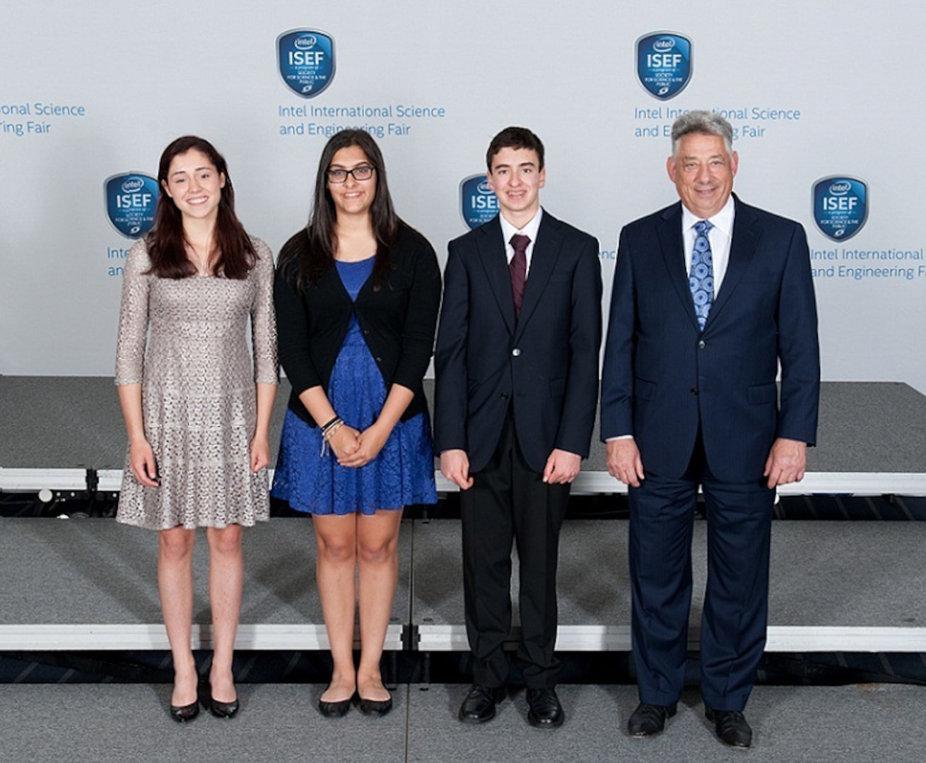 Steven Katz of NSA stands with the NSA Research Directorate special award selection winners at the annual 2015 Intel International Science and Engineering Fair.