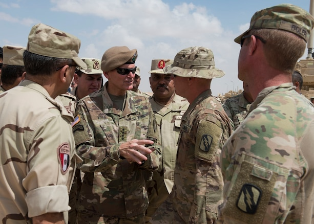 Army General Joseph Votel, CENTCOM Commander, and Egyptian senior leadership visit the Logistic Staging Area to talk to Army personnel involved in Bright Star 2018. Bright Star 2018 is an important symbol of the long-standing relationship between the U.S. military and Egyptian Armed Forces. (U.S. Air Force photo by SrA Amanda Stanford)
