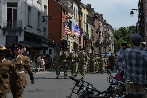 USAREUR Soldiers march in Belgian National Day Parade