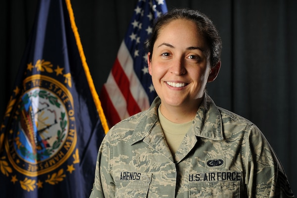 Air Force Staff Sgt. Kirsten E. Arends, a command post controller assigned to the New Hampshire Air National Guard's 157th Air Refueling Wing, poses for a portrait at Pease Air National Guard Base, N.H., Aug. 8, 2018.New Hampshire Air National Guard photo by Staff Sgt. Kayla White
