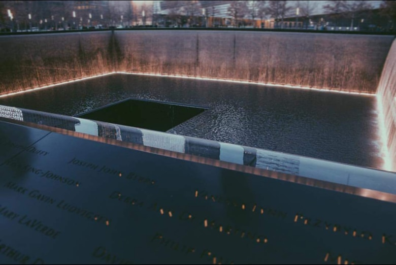 The 9/11 memorial sits at ground zero in New York in remembrance of all who lost their lives on that day.