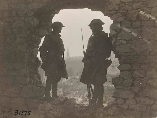 Soldiers of the  107th Infantry, 27th Division, on guard at old French chatea east of St. Souplet, Nord, France on  Oct. 19, 1918. The New York National Guardsmen of the 27th Division took tremendous casualties during the attack on the Hindenburg Line in the last 100 days of  World War I. The fighting ended on Nov. 11, 1918.