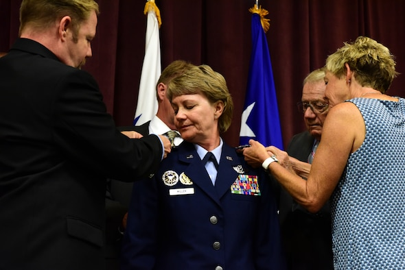 Gen. Maryanne Miller, incoming Air Mobility Command commander, receives the oath of office from Air Force Chief of Staff Gen. David L. Goldfein during a promotion ceremony at Scott Air Force Base, Illinois, Sept. 7, 2018. Previous to this assignment, Miller served as the commander of Air Force Reserve Command and chief of the Air Force Reserve. Miller became the first Reserve Airman to become a four-star general and the first Reserve Airman to command an Air Force major command outside of AFRC. AMC relies on a total force of more than 106,000 active-duty, Guard, Reserve, and civilian mobility professionals. (U.S. Air Force photo by Staff Sgt. Michael Cossaboom)