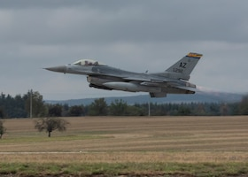 A U.S. Air Force F-16C Fighting Falcon, assigned to the 162nd Wing, Arizona Air National Guard, takes off from Namest Air Base, Czech Republic, for the start of Exercise Ample Strike 2018. Ample Strike is a Czech Republic led, multi-national live exercise that offers advanced air and land integration training to Joint Terminal Attack Controllers (JTACs) and Close Air Support (CAS) aircrews. The exercise highlights the United States and our NATO allies and partner nations commitment to defending the territorial integrity of Europe. (U.S. Air National Guard photo by Staff Sgt. George Keck)