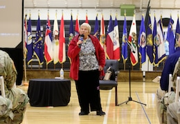 Fort Knox, Ky. - Wanda Wolosky, a Warsaw ghetto survivor, shares her experiences living through the Nazi occupation of Poland during World War II April 20 at the Sadowski Center. Wolosky was the keynote speaker for the 2018 Days of Remembrance Commemoration Program.