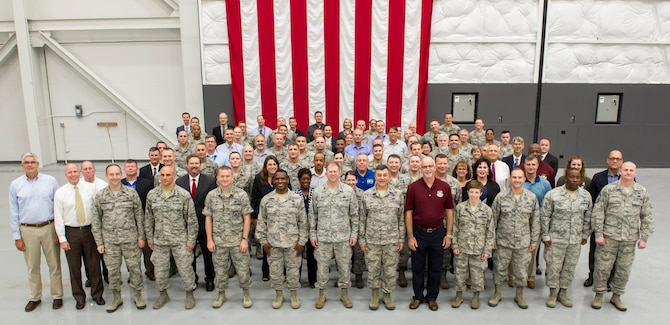 National Air and Space Intelligence Center leaders gather in Haynes Hall during the NASIC Senior Leaders Summit