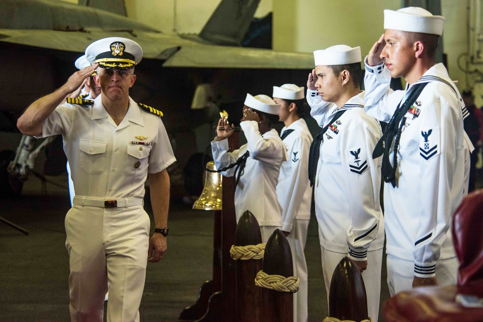 USS Ronald Reagan welcomes new commanding officer in at-sea ceremony