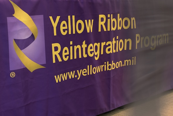 The Yellow Ribbon Reintegration Program is a mandatory National Guard Bureau event for pre-deployers and post-deployers that educates guardsmen and their families on eligible member services and support functions. The program includes, but is not limited to, information on health care, education and training opportunities, finances and legal benefits. (U.S. Air National Guard photo by Senior Master Sgt. Andrew M. LaMoreaux)