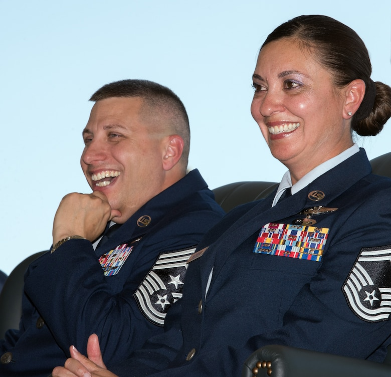 U.S. Air Force Chief Master Sgt. Steve Nichols, 60th Air Mobility Wing command chief and his spouse Senior Master Sgt. Angell Nichols, 60th Operations Support Squadron retire together in a duel ceremony at Travis Air Force Base, Calif., September 7, 2018. (U.S. Air Force photo by Louis Briscese)