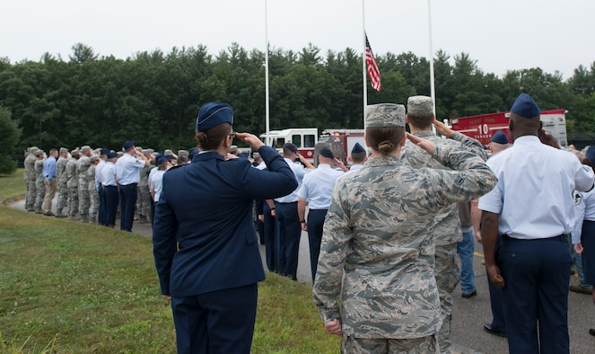 New Hampshire Air National Guard Airmen gather to remember the terrorist attacks of September 11, 2001 and pay tribute to the victims and families of those lost in New York, Pennsylvania and in the Pentagon, Pease Air National Guard Base, N.H, September 11, 2018. The 157th Air Refueling Wing continues to provide air refueling support for the War on Terror. Photo by Master. Sgt. Thomas Johnson, 157th ARW Public Affairs.