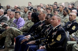 FORT KNOX, Ky. – Noncommissioned (NCO) Soldiers from the 1st Theater Sustainment Command listen to a presentation during the 2018 NCO Symposium, Aug 28-30, at the Gen. George Patton Museum. The symposium allowed for professional open-forum discussion amongst the NCO ranks. (U.S. Army photo by Spc. Zoran Raduka)
