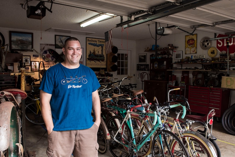 U.S. Air Force Staff Sgt. Patrick Lewis, 20th Equipment Maintenance Squadron aircraft structural maintenance mechanic, shows off his collection of bicycles in Sumter, S.C., Sept. 10, 2018.
