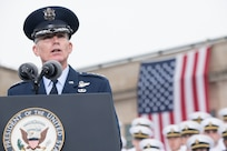 U.S. Air Force Gen. Paul J. Selva, Vice chairman of the Joint Chiefs of Staff, delivers remarks during the Sept. 11 Pentagon Memorial Observance Ceremony at the Pentagon in Washington, D.C., Sept. 11, 2018. During the Sept. 11, 2001, attacks, 184 people were killed at the Pentagon.