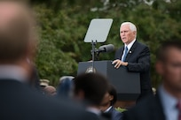 U.S. Vice President Mike Pence delivers remarks during the Sept. 11 Pentagon Memorial Observance Ceremony in Washington D.C., Sept. 11, 2018. During the Sept. 11, 2001, attacks, 184 people were killed at the Pentagon.