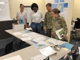 Honolulu District Commander Lt. Col. Kathryn Sanborn (right) and emergency management operations personnel analyzing the latest weather reports on Hurricane Olivia Sept. 10 in the District's EOC. Honolulu District activated its Emergency Operation Center  Sept. 6, 2018, in support of the response to Typhoon Mangkhut that ravaged the Commonwealth of the Northern Mariana Islands, and Hurricane/Tropical Storm Olivia that is heading for landfall in the eastern Hawaiian Islands.