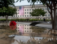 A red flower sits atop of every bench to remember the fallen on Sept. 11, 2001, during the Pentagon Memorial Observance Ceremony in Washington D.C., Sept. 11, 2018. Hundreds of military service members, family members who perished during the attacks, veterans and distinguished guests gathered to reflect on the lives lost during the attacks on Sept. 11, 2001.