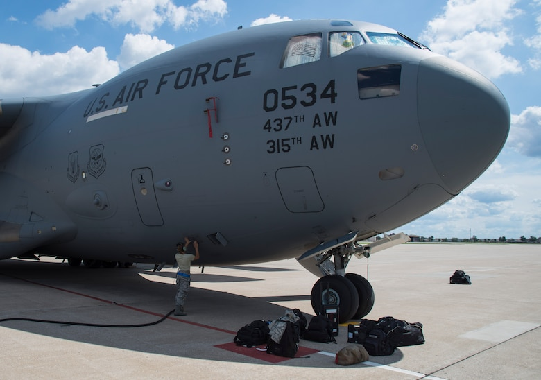 Scott Air Force Base and Mid-America Airport hosted multiple C-17 Globemaster III aircraft that evacuated Joint Base Charleston, South Carolina in preparation for Hurricane Florence, Sept. 11, 2018. More than 1 million people were ordered to evacuate Virginia, North Carolina and South Carolina as the East Coast braces itself for the Category 4 storm. (U.S. Air Force photo by Airman 1st Class Nathaniel Hudson)