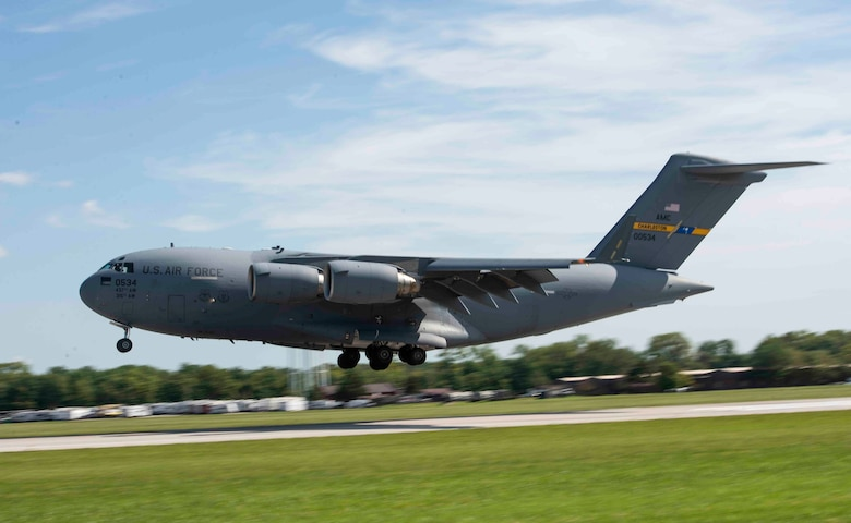 A C-17 Globemaster III from Joint Base Charleston lands at Scott AFB, Illinois, Sept. 11, 2018. Scott AFB and Mid-America Airport are expected to host a fleet of C-17's assigned to the 437th Airlift Squadron that were evacuating Hurricane Florence, a Category 4 storm heading toward the East Coast.