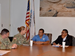 SANTA CLARA PUEBLO, N.M. – During her visit to the District, USACE South Pacific Division commander Col. (P) Kimberly Colloton visited the pueblo and met with the governor, Aug. 29, 2018. (l-r): Albuquerque District commander Lt. Col. Larry Caswell; Col. (P) Colloton; Lt. Gov. James Naranjo; and Gov. Michael Chavarria.
