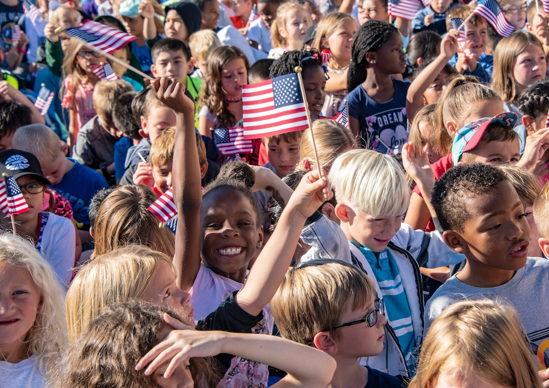 Travis elementary school students attend the Remembrance Day Freedom Walk, Sep. 11, 2018 at Travis Air Force Base, Calif. The walk commemorates those who lost their lives on 9/11.(U.S. Air Force Photo by Heide Couch)