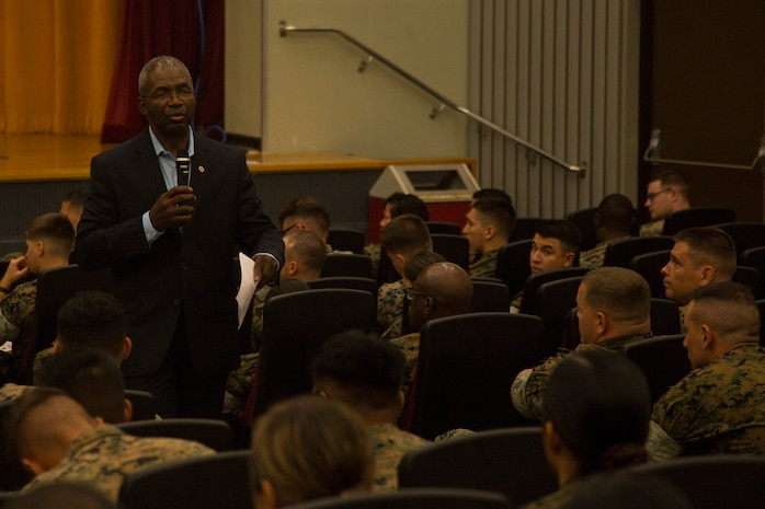 Retired Lt. Gen. Ronald Bailey Jr. speaks to Marines and sailors Sept. 6, 2018, during a Persevering Though Trials special event at the Camp Foster Theater, Okinawa, Japan.