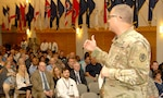 DLA Troop Support Commander Army Brig. Gen. Mark Simerly addresses the workforce at a town hall event Sept. 6 in Philadelphia. Simerly unveiled the fiscal 2019 campaign plan to employees, comparing the