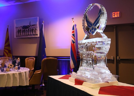 An ice sculpture rests, depicting the Air Force logo, at the Air Force Ball at Dobbins Air Reserve Base, Ga, Sept. 8, 2018. The 94th Airlift Wing hosted an Air Force Ball at Dobbins ARB, and invited Col. Wayne Waddell, United States Air Force retired, as a guest speaker. Waddell served in the Vietnam war, and was a prisoner of war for 6 years. (U.S. Air Force Photo by Staff Sgt. Miles Wilson)