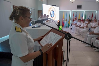 Rear Admiral Linda Wackerman speaks during the closing ceremony of UNITAS 2018.