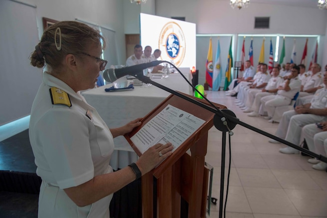 Rear Admiral Linda Wackerman speaks during the closing ceremony of UNITAS 2018.