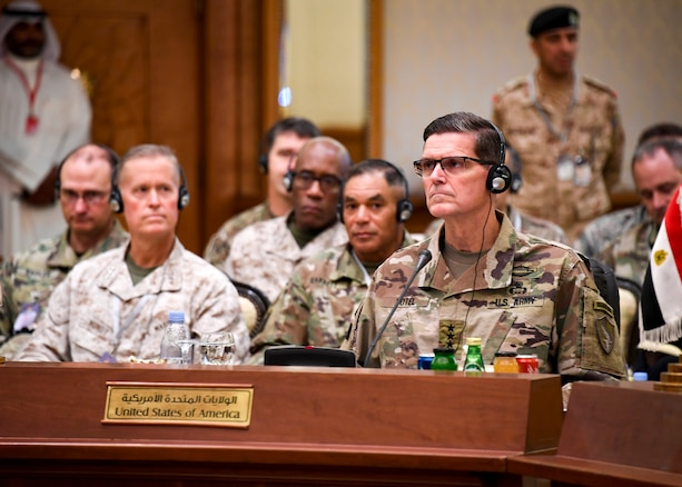 U.S. Army Gen. Joseph L. Votel, commander, U.S. Central Command, addresses senior defense leaders from nine countries throughout the region during a conference here Sept. 12. The two-day conference included chiefs of defense from the Cooperation Council for the Arab States of the Gulf countries – Kuwait, Bahrain, Oman, Qatar, Saudi Arabia, United Arab Emirates – as well as Jordan and Egypt. The event was designed to underscore the U.S. commitment to the region, help gain a better understanding of regional concerns, and identify opportunities to strengthen relationships between defense chiefs and senior U.S. military leaders.  (U.S. Air Force photo by Tech Sgt. Dana Flamer/Released)