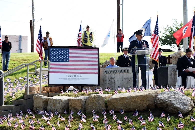 U.S. Air Force Col. Ricky Mills, 17th Training Wing commander, speaks during the 9/11 remembrance ceremony at the 9/11 memorial near the San Angelo Museum of Fine Arts in San Angelo, Texas, Sept. 11, 2018. During his speech, Mills shared about how service members were affected by the attacks. (U.S. Air Force photo by Staff Sgt. Joshua Edwards/Released)