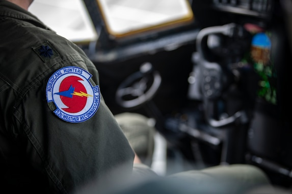 An airman with a Hurricane Hunters patch on his uniform.