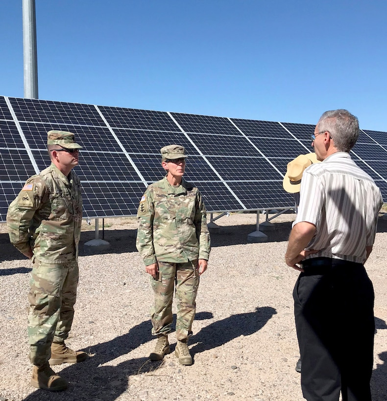 COCHITI DAM, N.M. -- (l-r): District commander Lt. Col. Larry Caswell, South Pacific Division commander Col. (P) Kimberly Colloton, and Operations Division chief Mark Yuska tour the Cochiti Photovoltaic Project at Cochiti Lake, Aug. 28, 2018.