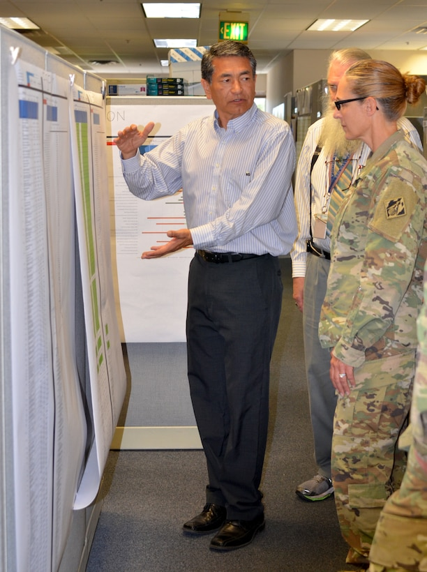 ALBUQUERQUE, N.M. -- Thomas Bueno, chief, Program Integration and Controls Branch, discusses project timelines with South Pacific Division commander Col. (P) Kimberly Colloton, Aug. 28, 2018.