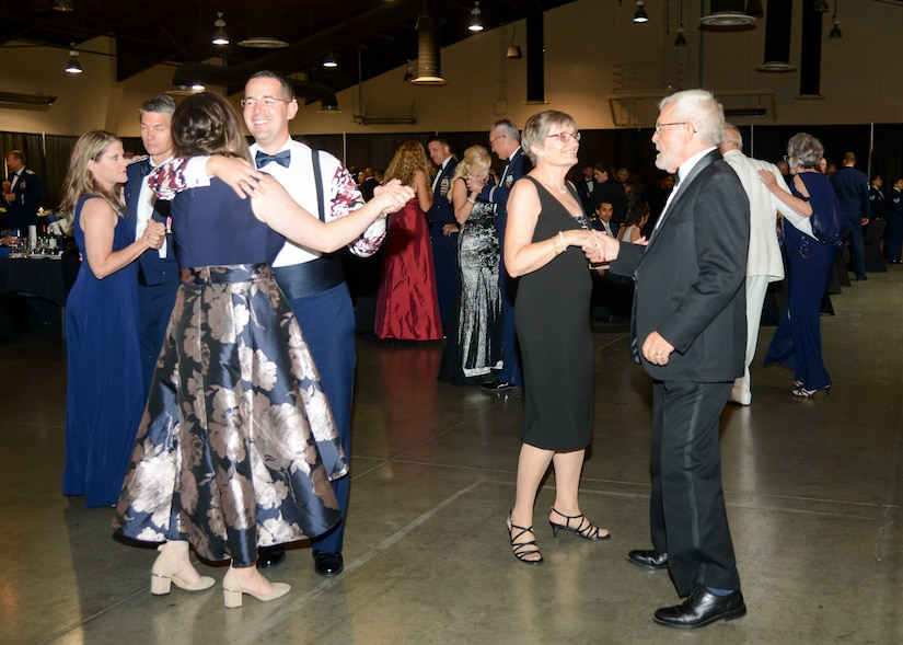 Edwards Air Force Base Airman and civilians dance during the 2018 Air Force Ball at the Antelope Valley Fair Grounds in Lancaster, California, Sept. 8, 2018. (U.S. Air Force photo by Giancarlo Casem)