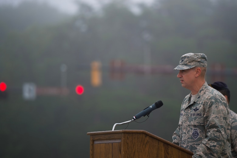Col. Andrew M. Purath, Joint Base Andrews and 11th Wing commander, speaks during the 9/11 Memorial Service on JBA, Md., Sept. 11, 2018. Nearly 3,000 people lost their lives in the terrorist attacks in 2001.