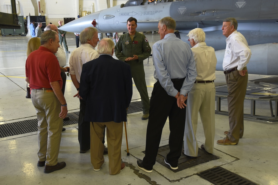 Members of the Airpower Council visit the 301st Fighter Wing during a base tour, Sept. 11, 2018, at Naval Air Station Fort Worth Joint Reserve Base, Texas. The council dates back to 1958 and provides support for the military community. (U.S. Air Force photo by Tech. Sgt. Charles Taylor)