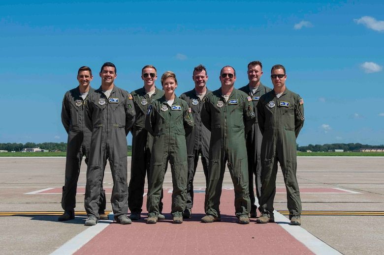 Eight C-21A pilots with the 375th Operations Group, including Lt. Col. Thomas Knaust, Maj. Taylor Todd, and Capts. Angus MacDonald, Alex Beveridge, Ramiro Rios, Jennifer Nolta, Mathew Williams and Waylon Mays, are this week's Showcase Airmen. In the absence of Command Test Pilots, these pilots flew the first C-21A in the Avionics Upgrade Program. They spent days taking lessons with the avionics manufacturer and a Federal Aviation Association test pilot before they stepped foot in the airplane. This flight was key to building the training program for 100 pilots in the Air Force C-21A fleet.