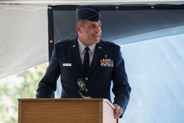 U.S. Air Force Deputy Chaplain (Lt. Col.) James Anderson, shares his experience with the Fisher House during the opening ceremony for Fisher House II at Joint Base Elmendorf-Richardson, Alaska, Sep. 10, 2018. The opening ceremony featured an array of key speakers, the 9th Army Band, Air Force Honor Guard, a ribbon-cutting and a walk-through. The Fisher House program is a unique private-public partnership established to improve the quality of life for military members, retirees, veterans and their families.