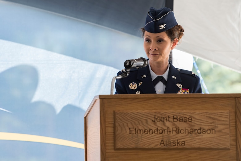 U.S. Air Force Col. Patricia Csànk, 673d Air Base Wing commander and Joint Base Elmendorf-Richardson commander, speaks during the opening ceremony for Fisher House II at JBER, Alaska, Sep. 10, 2018. The opening ceremony featured an array of key speakers, the 9th Army Band, Air Force Honor Guard, a ribbon-cutting and a walk-through.