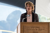 U.S. Senator Lisa Murkowski, talks about the importance of the Fisher House during the opening ceremony for Fisher House II at Joint Base Elmendorf-Richardson, Alaska, Sep. 10, 2018. The opening ceremony featured an array of key speakers, the 9th Army Band, Air Force Honor Guard, a ribbon-cutting, and a walk-through. The Fisher House program is a unique private-public partnership established to improve the quality of life for military members, retirees, veterans and their families.