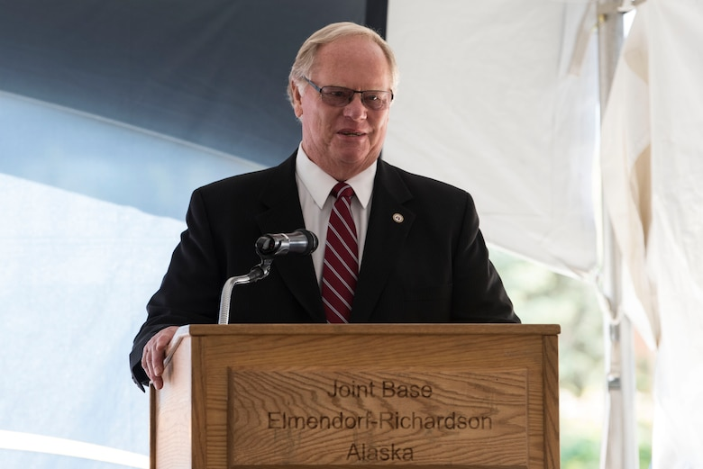 Terry Parks, Friends of Fisher House president, speaks during the opening ceremony for Fisher House II at Joint Base Elmendorf-Richardson, Alaska, Sep. 10, 2018. The opening ceremony featured an array of key speakers, the 9th Army Band, Air Force Honor Guard, a ribbon-cutting and a walk-through. The Fisher House program is a unique private-public partnership established to improve the quality of life for military members, retirees, veterans and their families.