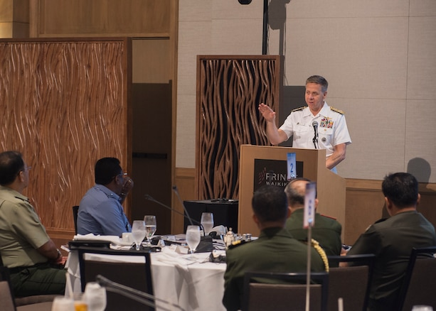 Commander U.S. Indo-Pacific Command (USINDOPACOM), Adm. Phil Davidson gives closing remarks at the USINDOPACOM-hosted Chiefs of Defense conference. The CHODS conference provides a forum for military leaders from throughout the Indo-Pacific region to strengthen military-to-military relationships, discuss common defense issues and foster regional cooperation.