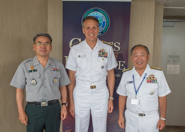Left to right, Vice Chairman of the Joint Chiefs of Staff for the Republic of Korea, Lt. Gen Lee Jong-Sup; Commander U.S. Indo-Pacific Command (USINDOPACOM), Adm. Phil Davidson; and Chairman of the Joint Chiefs of Staff for Japan, Adm. Katsutoshi Kawano meet at the USINDOPACOM hosted Chiefs of Defense conference. The CHODS conference provides a forum for military leaders from throughout the Indo-Pacific region to strengthen military-to-military relationships, discuss common defense issues and foster regional cooperation.
