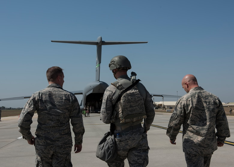 U.S. Air Force Major Gen. John Wood, 3rd Air Force commander, and U.S. Air Force Chief Master Sgt. Anthony Cruz Munoz, 3rd Air Force command chief, watch a 39th Security Force Squadron exercise at Incirlik Air Base, Turkey, Sept. 12, 2018.
