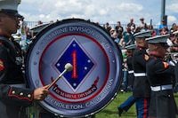 U.S. Marines with the 1st Marine Division Band perform during the opening ceremony for the 42nd annual Longs Peak Highland Festival in Estes Park, Colorado, Sept. 7, 2018. The festival celebrates Scottish and Irish heritage through a variety of traditional athletic games, jousting competitions, music, and dancing.